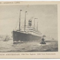Image of Postcard: Holland-America Line. T.S.S. New Amsterdam. No date, circa 1920's; unposted. - Postcard