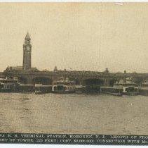 Image of Postcard: Lackawanna R.R. Terminal Station, Hoboken, N.J. Length of Front,... McAdoo Tunnel. Circa 1908; unposted. - Postcard