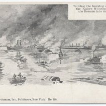 Image of Postcard: [1900 Hoboken Pier fire.] Towing the burning steamers, the Saale, the Kaiser Wilhelm der Grosse and the Bremen into the Hudson River. No date, circa 1900-1901. - Postcard