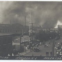 Image of Postcard: [1921 pier fire.] Fire Pier 5, Hoboken, N.J. Aug 24-1921. 1921; unposted. - Postcard