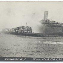 Image of Postcard: [1921 pier fire.] Pier 5, Hoboken, N.J. Fire Aug 24-1921. 1921; unposted. - Postcard
