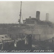 Image of Postcard: [1921 pier fire.] Fire Pier 5, Hoboken, N.J. Aug 24-1921. 1921; unposted. - Postcard