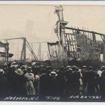 Image of Postcard: [1921 pier fire.] Pier 6, Hoboken, N.J. Fire Aug 24-1921. 1921; unposted. - Postcard