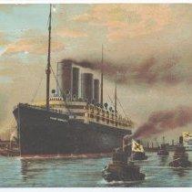 Image of Postcard: Harbor Scene, New York. [S.S. Kaiser Wilhelm II, North German Lloyd Line.] Postmarked May 9, 1910. - Postcard