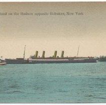 Image of Postcard: S.S. Deutschland on the Hudson opposite Hoboken, New York [N.J.]. Inscribed May 14, 1908. - Postcard