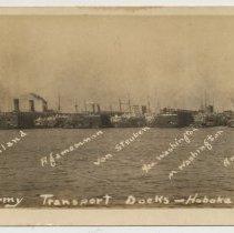 Image of Postcard: U.S. Army Transport Docks - Hoboken, N.J. No date, circa April 1918 to Nov. 1919; unposted. - Postcard