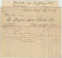 Image of Statement of Feb. 1, 1897 from Fagan Iron Works, 309 Jefferson St., Hoboken to Fallon Brothers. - Invoice