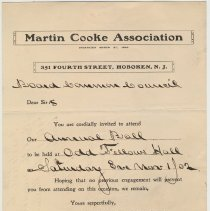Image of Invitation from Martin Cooke Association Common Council to Annual Ball, 1902. - Letter
