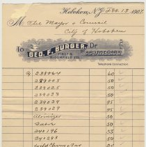 Image of Bill from George F. Burger, Apothecary to Mayor and Council, City of Hoboken, Feb.13, 1907. - Invoice