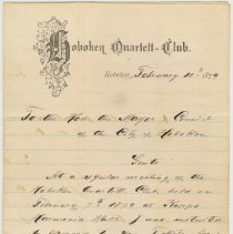 Image of Invitation from the Hoboken Quartett-Club to the Mayor and City Council to attend Grand Masquerade Ball, March 10, 1879. - Invitation