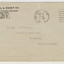 Image of Envelope from Keuffel & Esser Company, Hoboken, N.J. Postmarked October 15, 1934. - Envelope