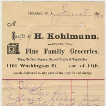Image of Note from H.Kohlmann, 1101 Washington St., to Mr. Barck (Overseer of the Poor) regarding an overdue bill, June 8, 1900. - Invoice