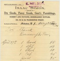 Image of Bill from E. Nelson,  210, 212 & 214 Washington St., Hoboken to Mr. Barck for clothing & fabric, May 23, 1908. - Invoice
