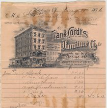 Image of Bill from Frank Cordts Furniture Co., Carpets, Oil Cloths Bedding Etc.. 200 Washington St., Hoboken, to Thomas Laud, 927 Park Ave., August 17, 1896. - Bill