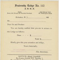 Image of Blank printed form notice: Fraternity Lodge No. 112, I.O.O.F. (International Order of Odd Fellows), Hoboken, from the 1920's. - Announcement