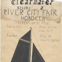 Image of Poster: Clearwater visits a River City Fair, Hoboken. Hoboken Environment Committee & Stevens Institute of Technology, July 27-28, 1975. - Poster