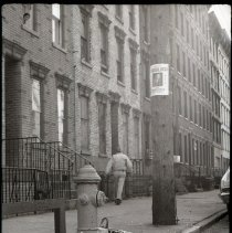Image of B+W photo of an unidentifed block in the first ward, possibly Clinton St., Hoboken, no date, ca. 1970-1975. - Print, Photographic