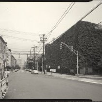 Image of B+W photo of former Maxwell House Coffee plant exterior, overview looking north on Hudson St, Hoboken, 2003. - Print, Photographic