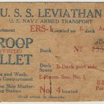 Image of Troop billet card for U.S.S. Leviathan, U.S. Navy Armed Transport, no date, circa 1917-1919. - Card, Admittance