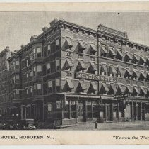 """Image of Postcard: Meyers Hotel, Hoboken, N.J. """"Known the World Over."""" No date, circa 1933-34. - Postcard"""