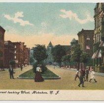 Image of Postcard: Eleventh Street looking West, Hoboken, N.J.  No date, circa 1907-1914; unposted. - Postcard