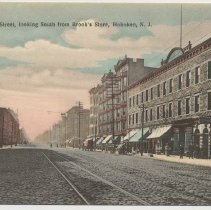 Image of Postcard: Washington Street, looking South from Brook's Store, Hoboken, N.J. No date, circa 1907-1914; unposted. - Postcard