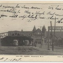Image of Postcard: 4395.14th St. Ferry, Hoboken, N.J. Published by E.F. Walter.  Postmarked Aug. 7, 1907. - Postcard