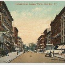 Image of Postcard: Hudson Street looking North, Hoboken, N.J. Postmarked Oct. 27, 1910. - Postcard