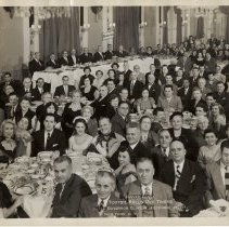 Image of B+W group photo of Dinner Dance, Tootsie Roll Old Timers, Hotel Governor Clinton, New York, N.Y., December 27, 1952. - Print, Photographic