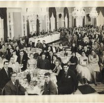Image of B+W group photo of Dinner Dance, Tootsie Roll Old Timers, Hotel Governor Clinton, New York, N.Y., December 29, 1954. - Print, Photographic