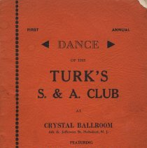 Image of Souvenir journal (program) for 1st Annual Dance of the Turk's S. & A. Club, Hoboken, March 2, 1940. - Program