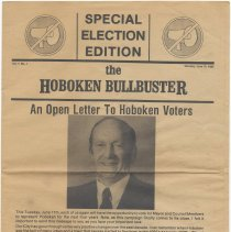 """Image of Campaign newspaper """"The Hoboken Bullbuster,"""" vol. 1, no.1, June 10, 1985, promoting the re-election of Mayor Steve Cappiello & City Council slate. - Newspaper"""