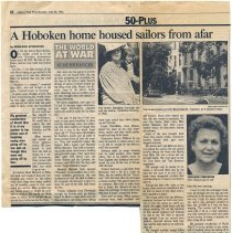 "Image of Newsclipping: ""A Hoboken Home Housed Sailors from Afar."" By Geraldine Streckfuss. Asbury Park Press, 1992. - Documents"