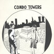 Image of Pen-and-ink drawing: Condo Towers. Artist: Randy Hoppe, Hoboken, no date, circa 1990-1991. - Drawing