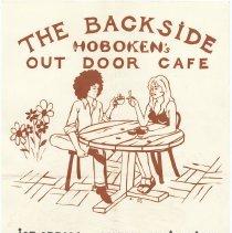Image of Silkscreened poster: The Backside. Hoboken's Out Door Cafe... 152 Newark St. Circa 1974-1975. - Poster