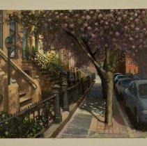 Image of Digital images, 2, of Frank Hanavan painting of cherry trees on Tenth Street, dated 4-25-06, Hoboken, 2006. - Print, Photographic