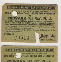 Image of Printed tickets, 2, of the Hudson & Manhattan Railroad Co., 1917. - Ticket, Transportation
