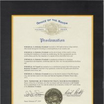 Image of Proclamation by Mayor David Roberts to NJ Transit on the Centennial of Hoboken Terminal, Feb. 23, 2007. - Documents