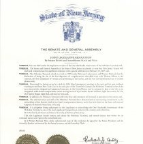Image of New Jersey State Legislature Resolution saluting Hoboken Terminal on its centennial, Feb. 23, 2007. - Proclamation
