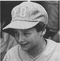 Image of Photocopy of black-and-white photo of Maria Pepe in Hoboken Young Dems Little League team uniform, Hoboken, 1972. - Print, Photographic