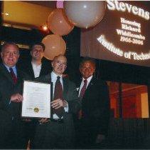 Image of photo: (l) Mayor David Roberts; (3) Richard Widdicombe; (r) Harold Raveche