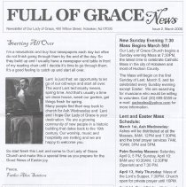 Image of Full of Grace News: Newsletter of Our Lady of Grace (Church), 400 Willow Street (sic), Hoboken, Issue 2, March 2006. - Newsletter