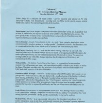 "Image of Program for ""Memoir"" at the Hoboken Historical Museum, 1301 Hudson St., Hoboken, October 15, 2006. - Program"