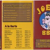 Image of Menu: Joey's BBQ, 916 Washington Street, Hoboken, (2007). - Menu