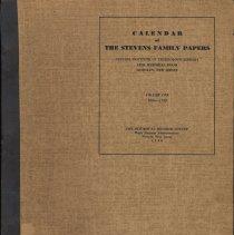 Image of Calendar of the Stevens Family Papers, Stevens Institute of Technology Library, Hoboken. Vol. 1, 1664-1750. Dec. 1940. - Book