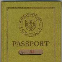 Image of Passport. Hoboken Free State. Issued by Christopher Morley and Cleon Throckmorton. No. 51. Issued to J. Brooks Atkinson, February 3, 1930. - Passport