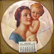 Image of Wall calendar plaque from Anthony 'Doc' Izzo, 624 Washington St., Hoboken, 1937. - Calendar