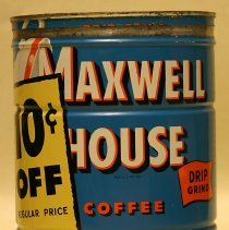 Image of Can: Maxwell House Coffee, Two Pounds Economy Size, Drip Grind, Hoboken, no date, ca. 1945-1955. - Can