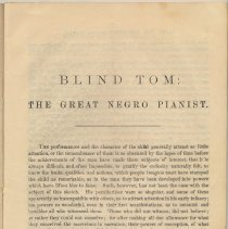 Image of pg [3] biography & appreciation: Blind Tom: The Great Negro Pianist