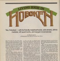 Image of Magazine: New Jersey Monthly, August 1977. Article: Living High in Hoboken. - Magazine